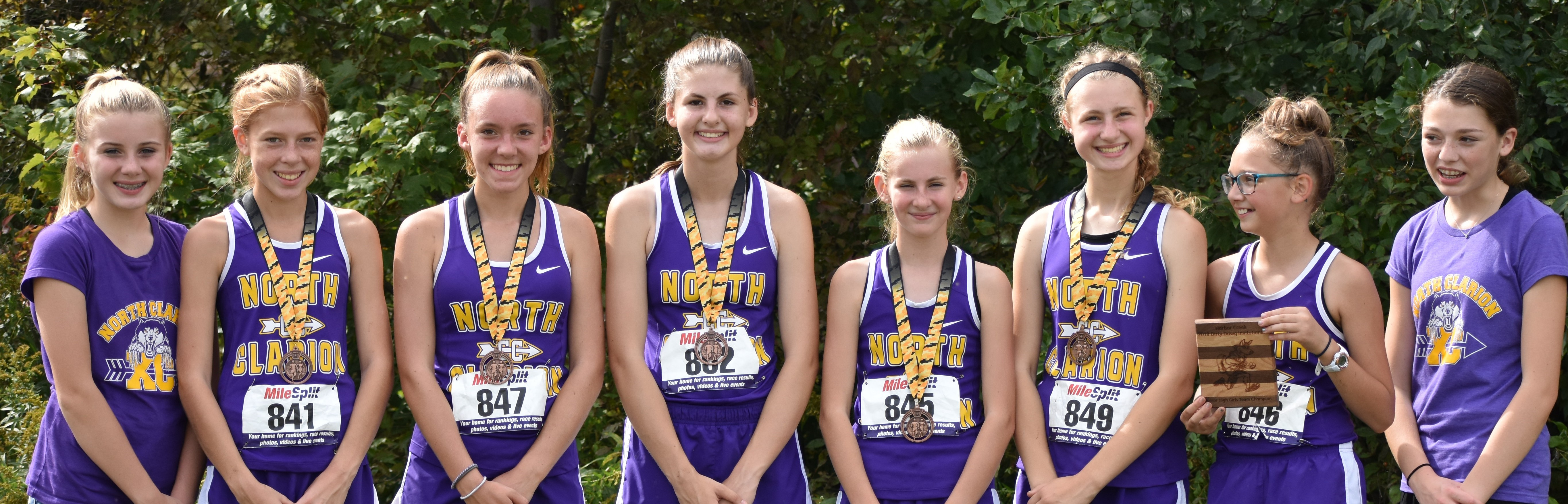 North Clarion junior high girls' team. Left to Right:  Ava Best, Katie Bauer, Kylie Disney, Maddie Homan, Emma Buckley, Nicole Fair, Kaylee Castner, Brynn Siegel.  Not in photo is Akeela Greenawalt