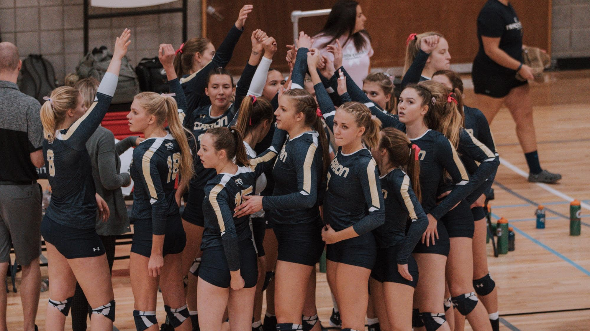 Clarion U volleyball huddle-min