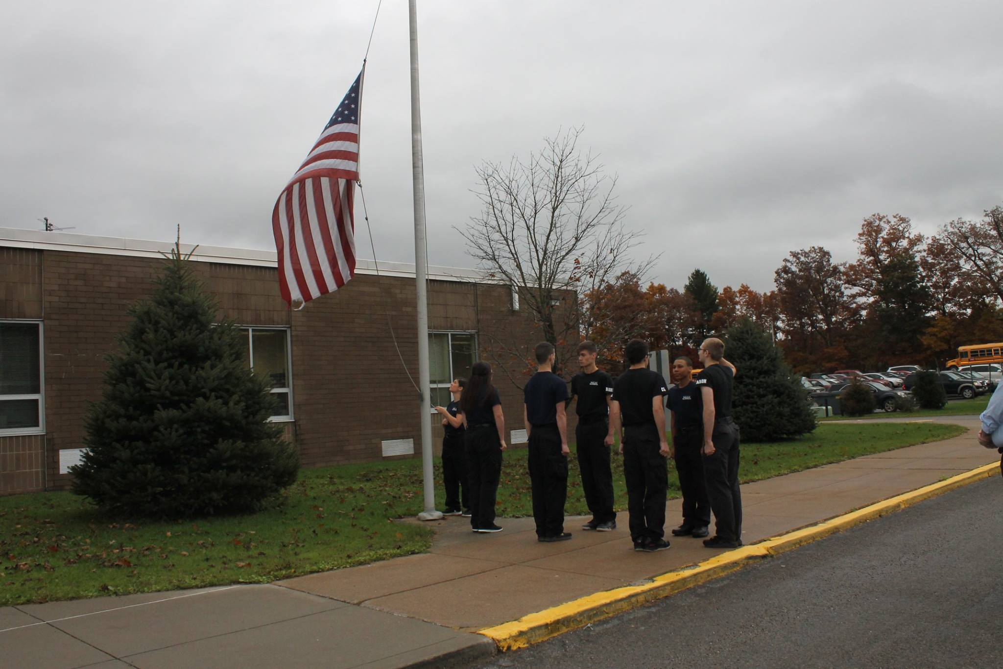 Morning session Police Science students completed a flag ceremony to lower and properly fold the school flag which had been damaged by the elements. Courtesy of Clarion County Career Center.