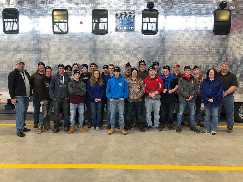 Diesel and Construction seniors visiting Haddad's, Inc., one of the largest production equipment rental companies in the U.S. Courtesy of Clarion County Career Center.