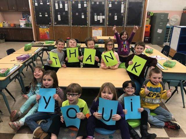 Mrs. Shuster's first grade class saying -thank you- to everyone who helped with their flexible seating project. Courtesy of Union School District