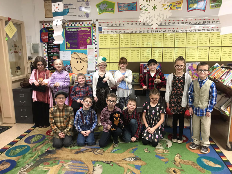 RVPS students , faculty, and staff celebrated the 100th day of school by dressing in elderly attire. Courtesy of RVEA.
