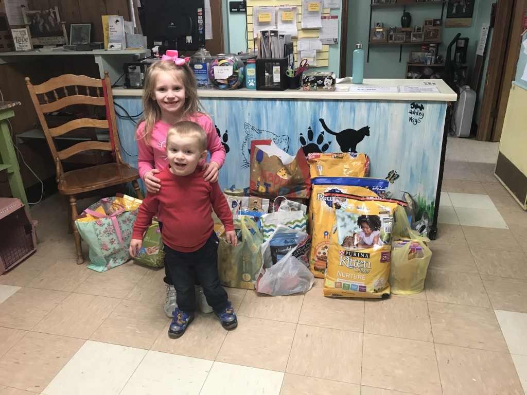 Adalyn Amsler ,6, and Coleson Amsler ,3, donated over 25 bags and at least 100 cans of dog/cat food.  They asked for donations to give the animals at TriCounty Animal Rescue instead of presents for themselves for their birthday party.