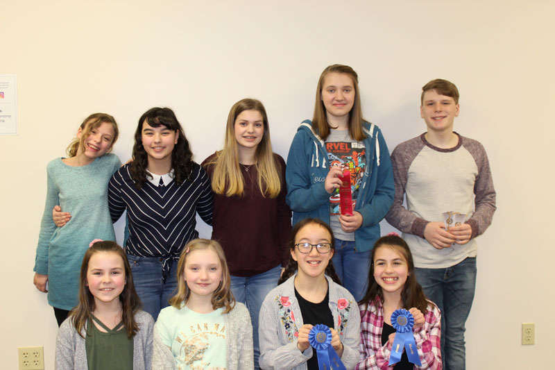 DuBois MS Winners. Back Row: Rylan Heffner, Lillie McCauley, Mallory Britton, Isabella Sciamanna, Andy Hewitt. Front Row: Dani Peace, Grace Crawford, Julia Wirths, Anna Weible