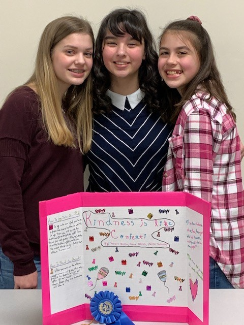 DuBois MS student winners in Digital Movie category.  Mallory Britton, Lillie McCauley, and Anna Weible