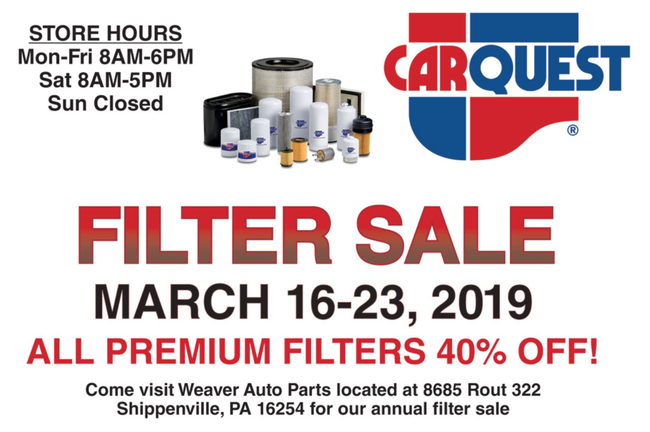 Weaver Auto Parts >> Sponsored Weaver Auto Parts Annual Filter Sale Continues With Free
