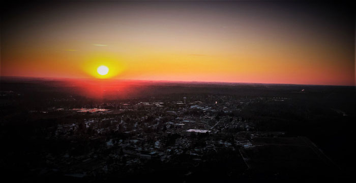 Sunset over Clarion from 400 feet up. Courtesy of Shaw Aerial Video Photography.