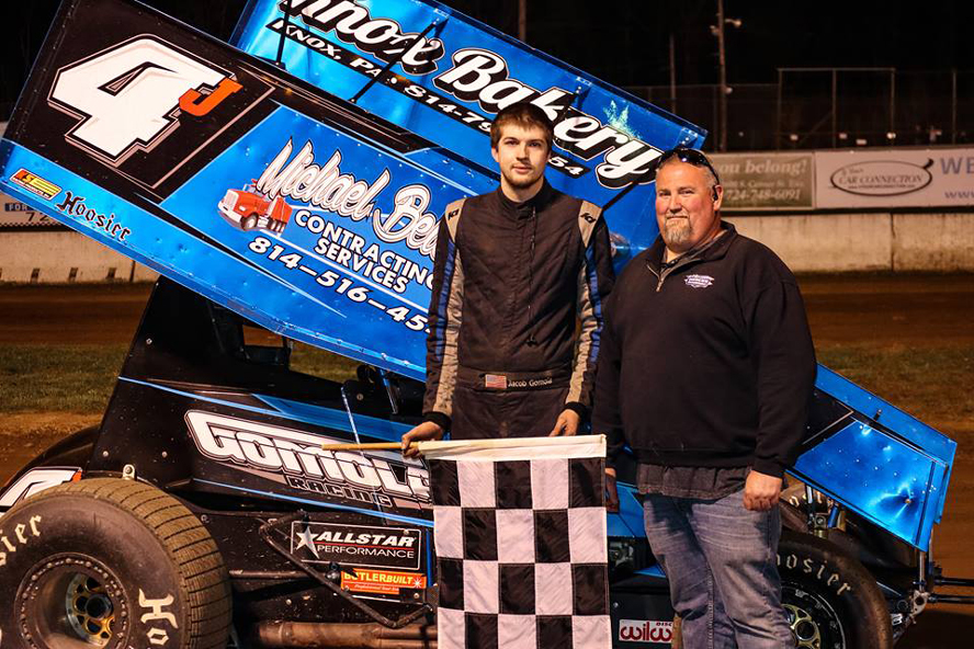 Jake Gomola of Seneca with new Mercer promoter Edward Michaels after winning 305 sprint car feature. (Zack Anthony Photo)