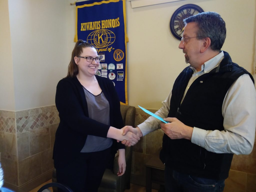 Samantha DiPippa was awarded a $500 scholarship from Clarion Kiwanis Monday night. She is a student at Clarion University and President of Circle K.   Submitted by Renee Vowinckel.
