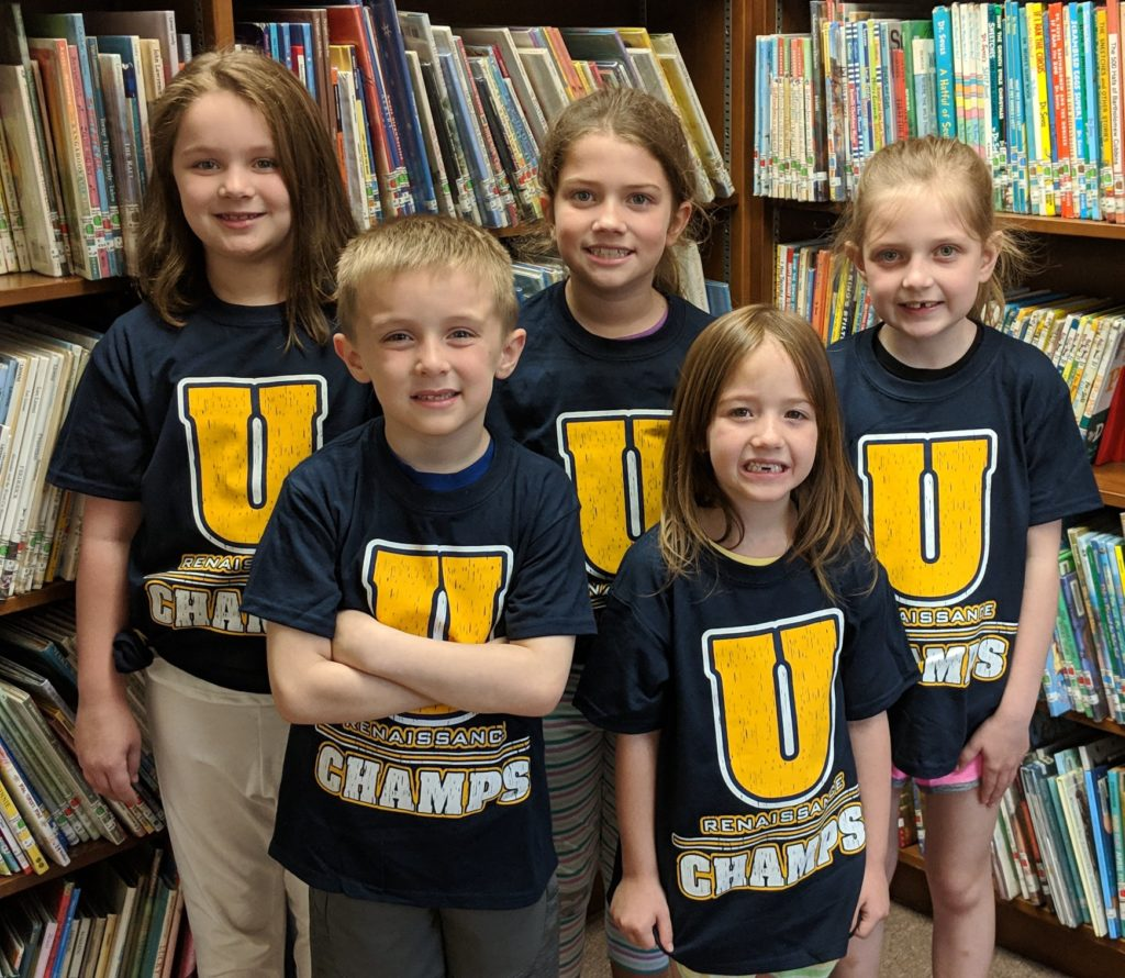 Renaissance CHAMPS winners at Sligo Elementary School Students of the Week or Most Improved Students of the Week:  Back row- Aaralynn Switzer, Madelynn Davis,  and Ireland McGuire.  Front row- Jack Johnston and Delaney McConaughy. Absent from the photo- Kira Hillis.  Courtesy Union School District.