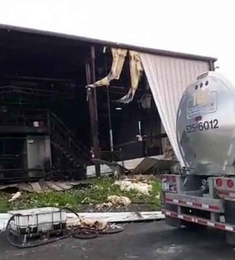 Damage to a tanker cleaning facility. Photo courtesy of Penny Reep.
