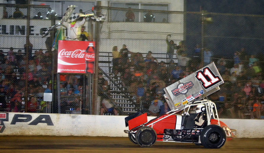 Local favorite Dale Blaney returned to victory lane with the All-Stars for the first time in nearly three years.  Photo by Rick Rarer