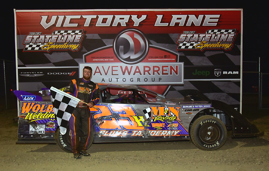 Hunter Exley of Franklin in victory lane after his first career win with the Penn-Ohio Pro Stock Series (Jimmy Porter Photo)