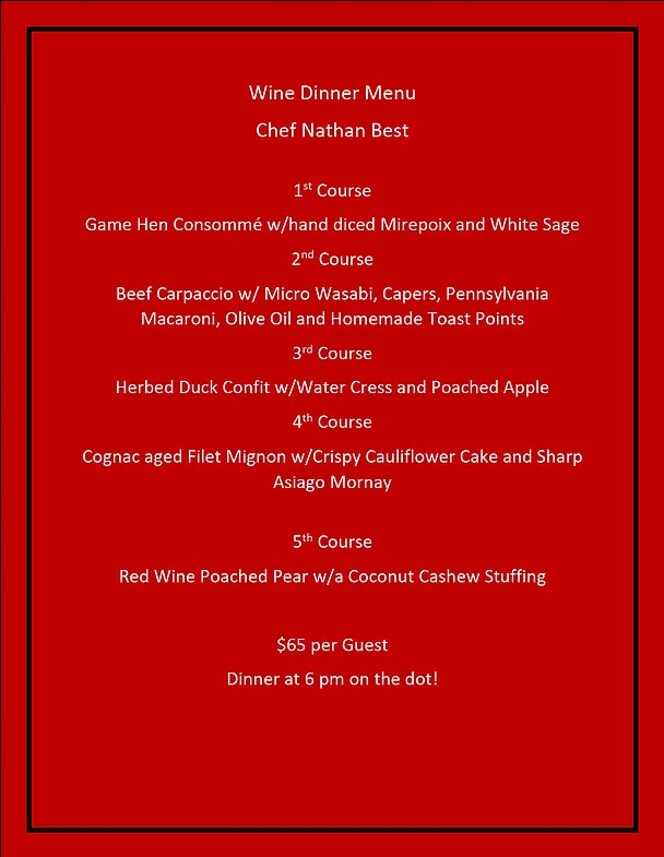 allegheny grille wine dinner menu