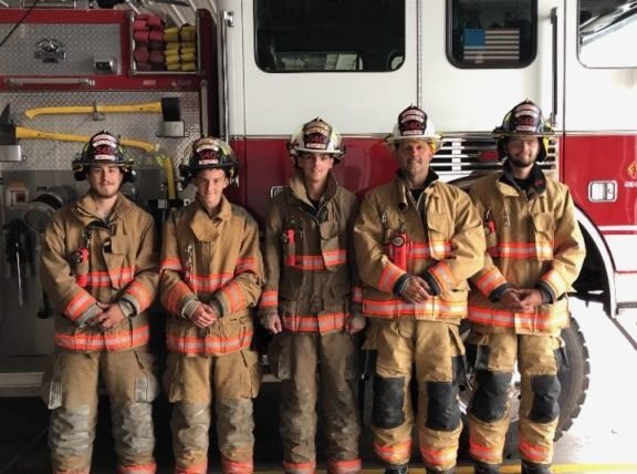 Farmington Township Volunteer Fire Company Station 540 crew after returning from a call. Pictured: Left to right, Trey Bauer, Aaron Lencer, Tyler Lencer, Henry Lencer, and Alex Lencer.