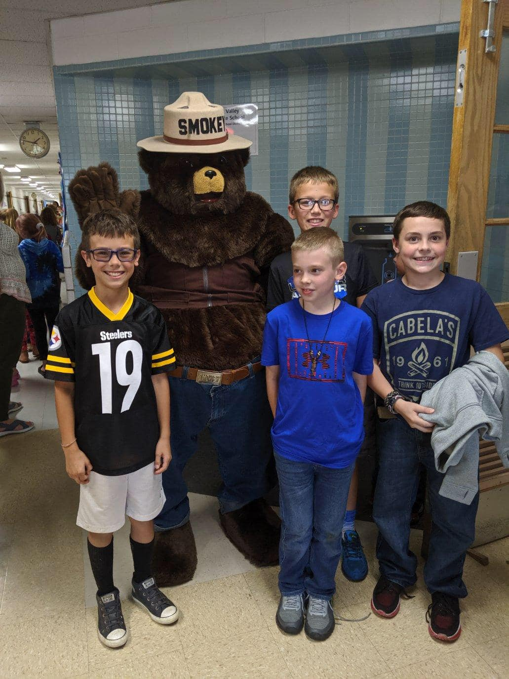 Smokey the Bear visiting students at Redbank Valley Intermediate School Courtesy of Redbank Valley Education Association.