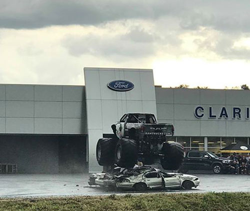 The Raminator crushing cars at Clarion Ford. Submitted by Amy Renee.