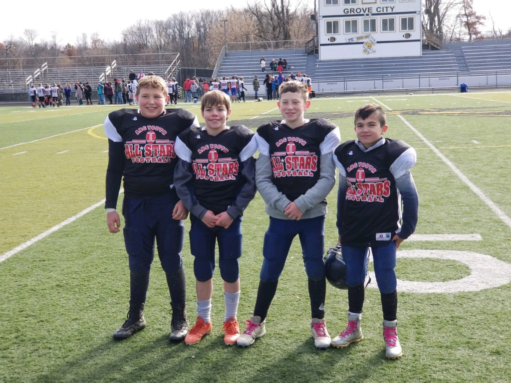 Hayden Hindman. Brody McKinley.Hunter Lechner, and CJ Zacherl were chosen to represent the C-L senior age division in the 2019 ABC Youth Football League All-Star game. The game was on Saturday, November 9.  Submitted by Mike Hindman.