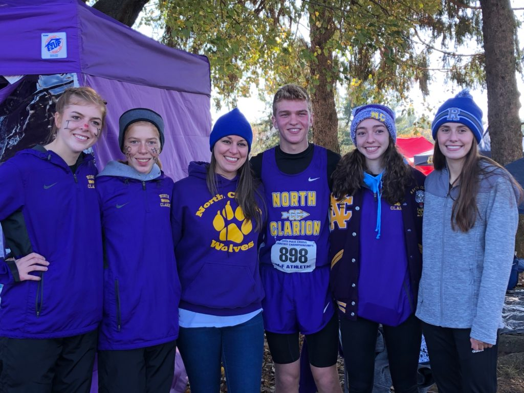 Betsy Bauer attended the PIAA Cross Country Championships in Hershey, Pa., on Saturday, November 2, and watched her four nieces and one nephew run.  Pictured from left to right: Haley Bauer, Katie Bauer, Betsy Bauer, Jacob Bauer, Rachel Bauer, and Hannah Wagner.  Submitted by Betsy Bauer.