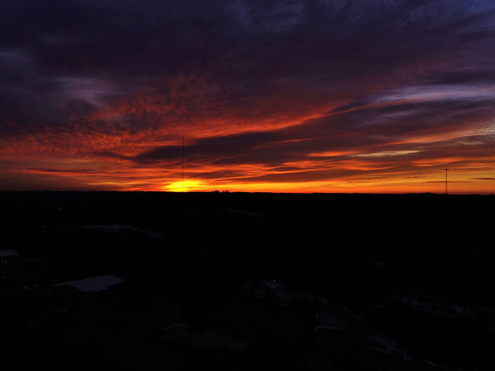Beautiful sunrise over Strattanville. Courtesy of Shaw Aerial Video Photography.