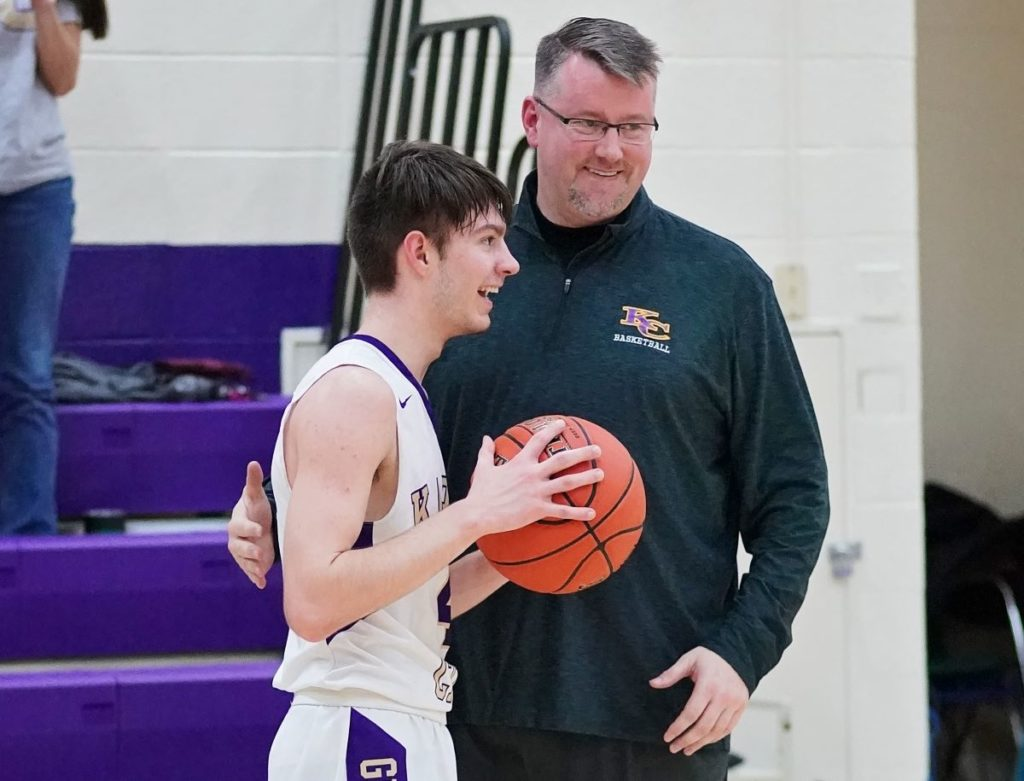 Beighley and Karns City head coach Chris Bellis. Photo by Holly Mead