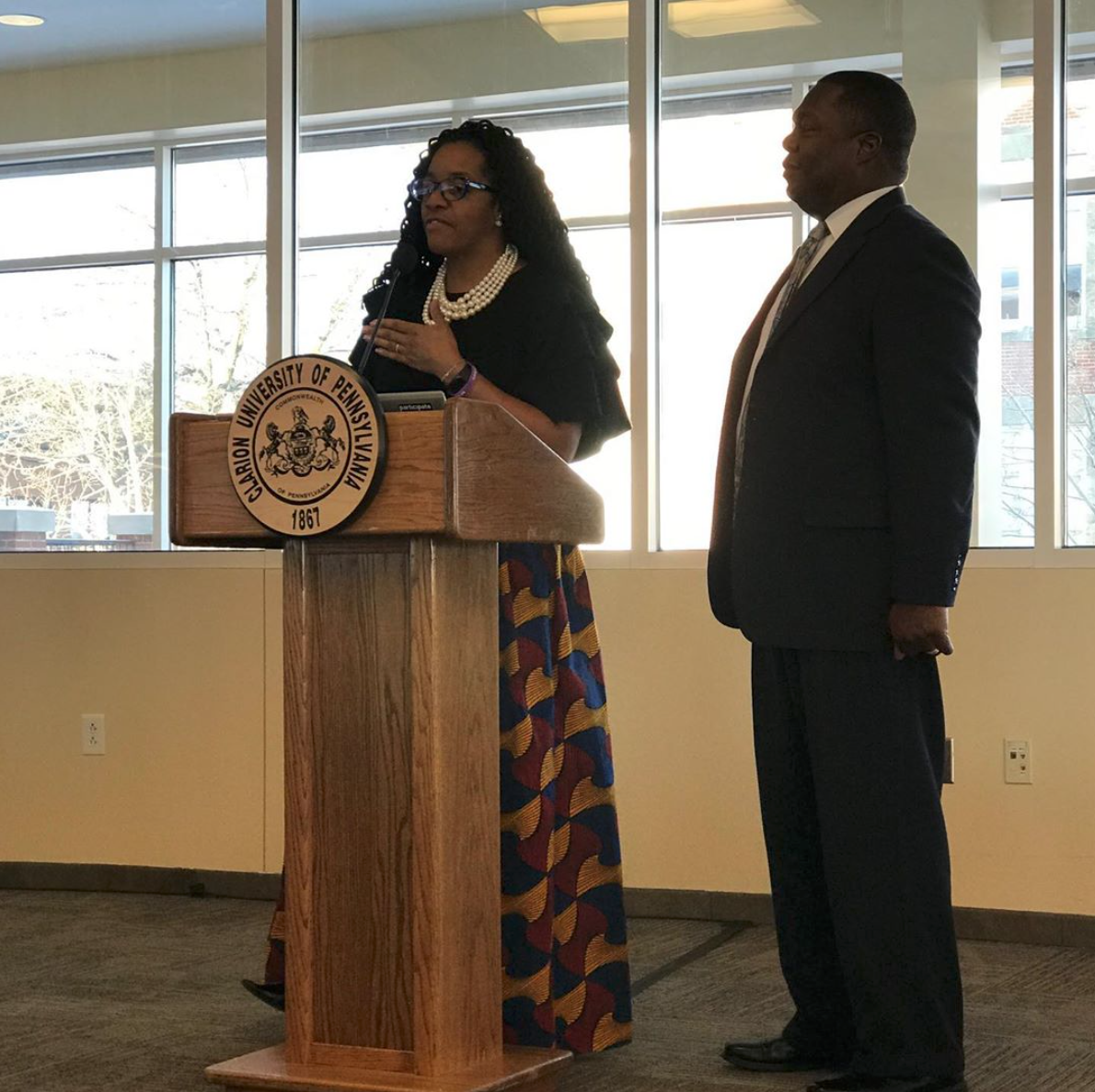 Keynote speakers Sean and Antionette McDonald, at the Community Martin Luther King Jr. celebration. Courtesy of Clarion University President, Dr. Dale.