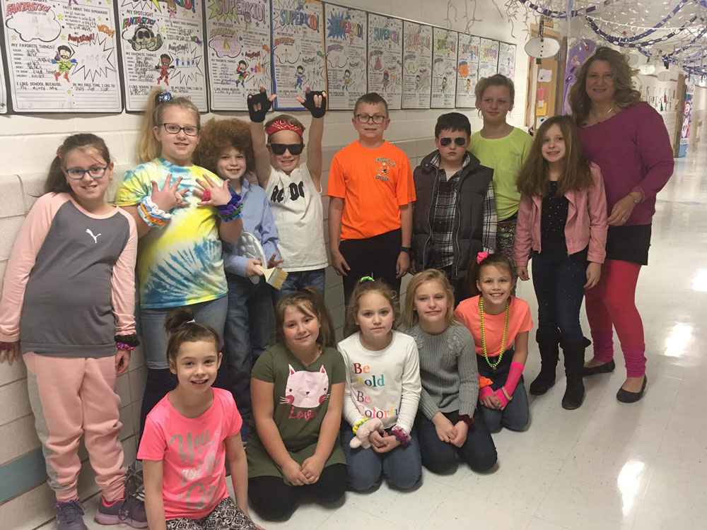 Redbank Valley elementary students and faculty in their best 80s style in honor of the 80th day of school. Courtesy of Redbank Valley Education Association.