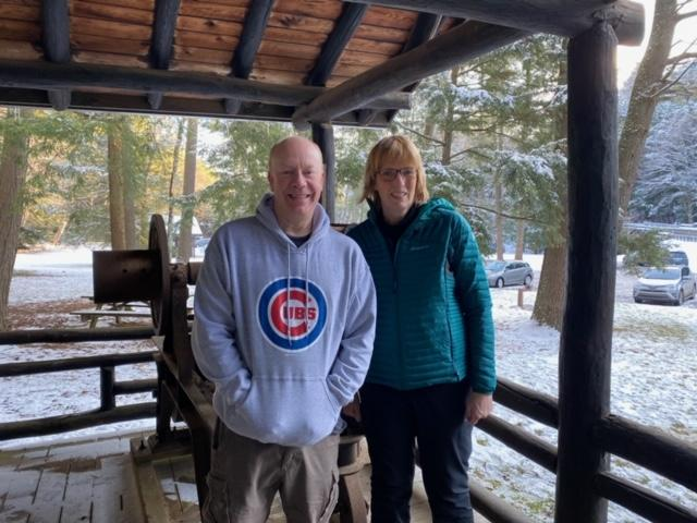 Carl Harting of Friends of Cook Forest State Park and DCNR Secretary Cindy Adams Dunn.