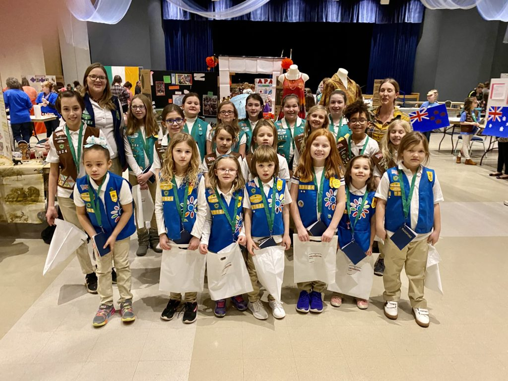 Clarion Area Girl Scouts included the following: Front row (left to right): Ta'Kiley Robinson, Paisley Snyder, Gabrielle Hummel, Kamryn Onuffer, Olivia McCormick, Emmaleigh McDonnell, Makenzie Reed Middle Row: Madison Allhiser, Carmyn Burleson, Tantruh Hilyer, Jesi Finland, Samantha Lewis, Tegan Esiso, Lily Snyder Back row: Katie Taggart, Alexis McCormick, Elizabeth Estadt, Leanne Wentling, Savannah Taggart, Addison Mcguirk. Mattilynn Wayland, Jessica Yonker.
