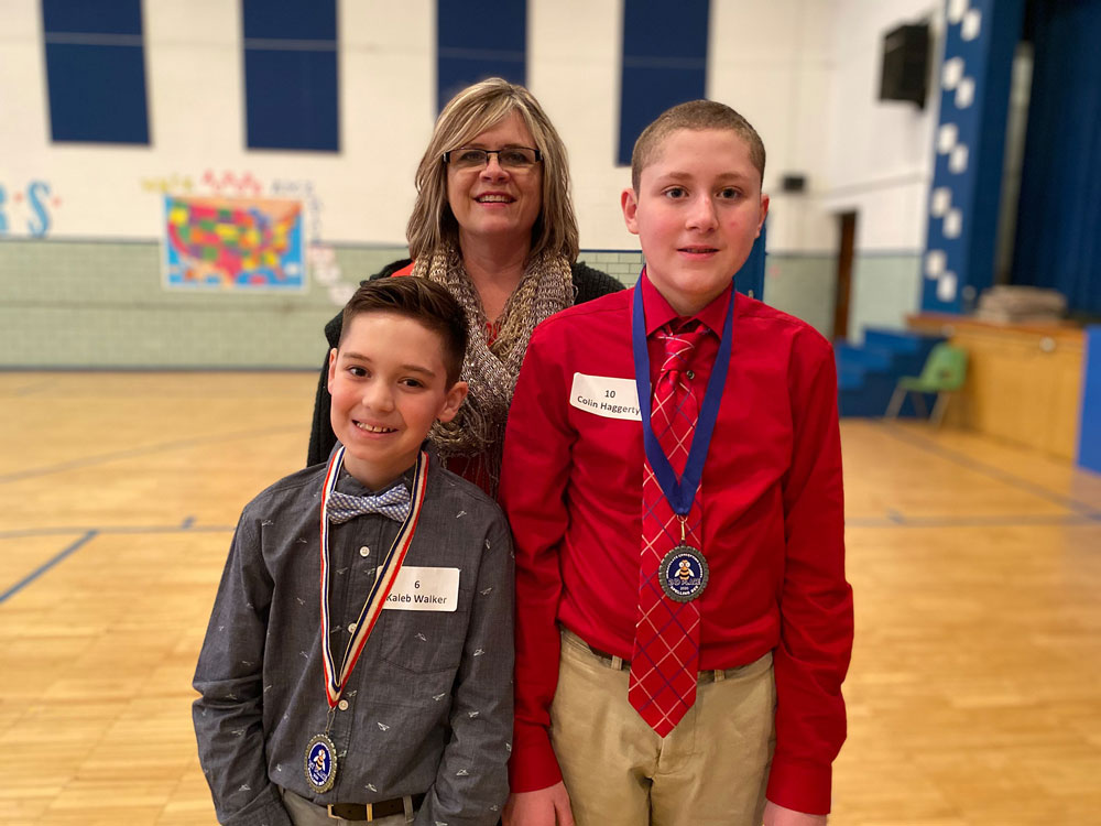 Immaculate Conception School's first place Spelling Bee winner Kaleb W. and second runner up Colin H. Courtesy of ICClarion.