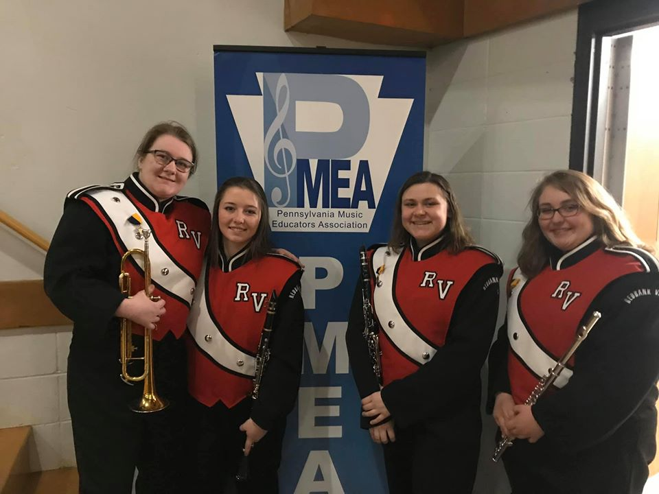 Zoe Rankin, Jenna Procious, Lindsay Evans, and Marley Best recently represented Redbank Valley at the PMEA District Band festival. Courtesy of Redbank Valley Education Association.