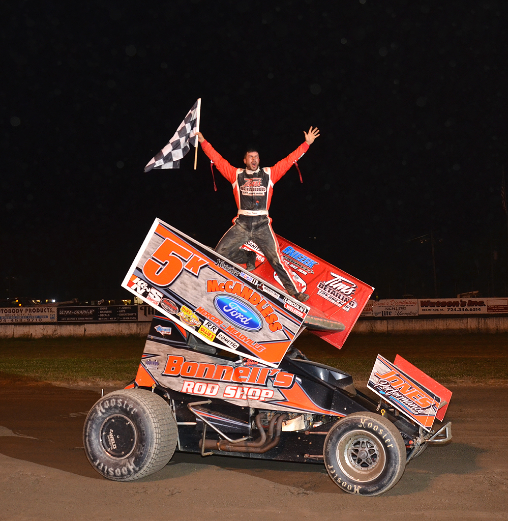 A happy Adam Kekich after his first win of 2020. Photo by Rick Rarer.