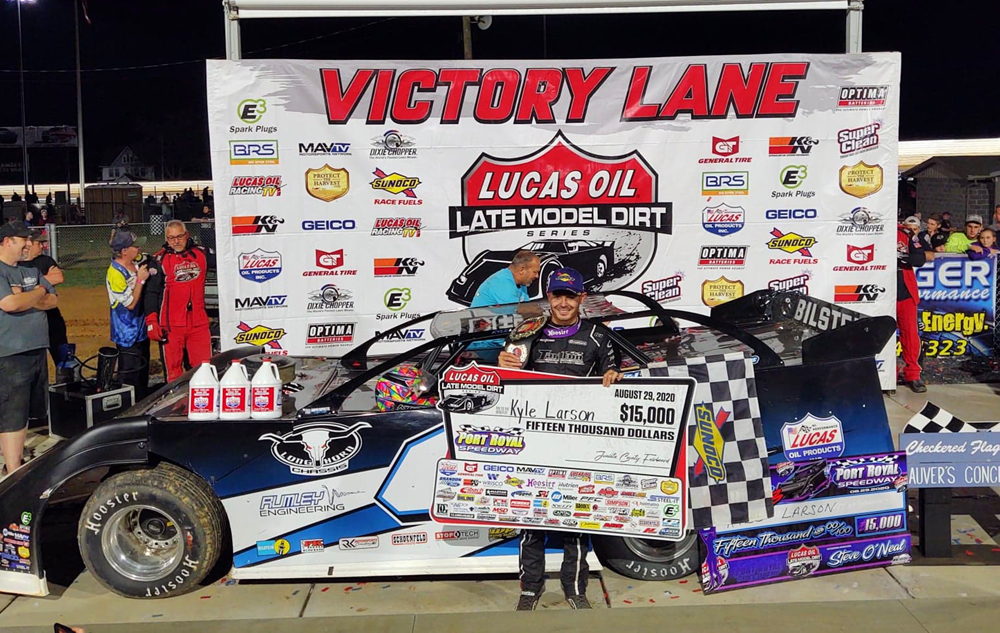 Kyle Larson made history with his win against the Lucas Oil Late Model Series Saturday. Photo by Mark Swanson.