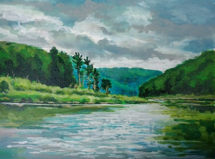"""""""Fishing on Tionesta Lake with my husband."""" Submitted by artist Kathleen Flaherty Hall."""