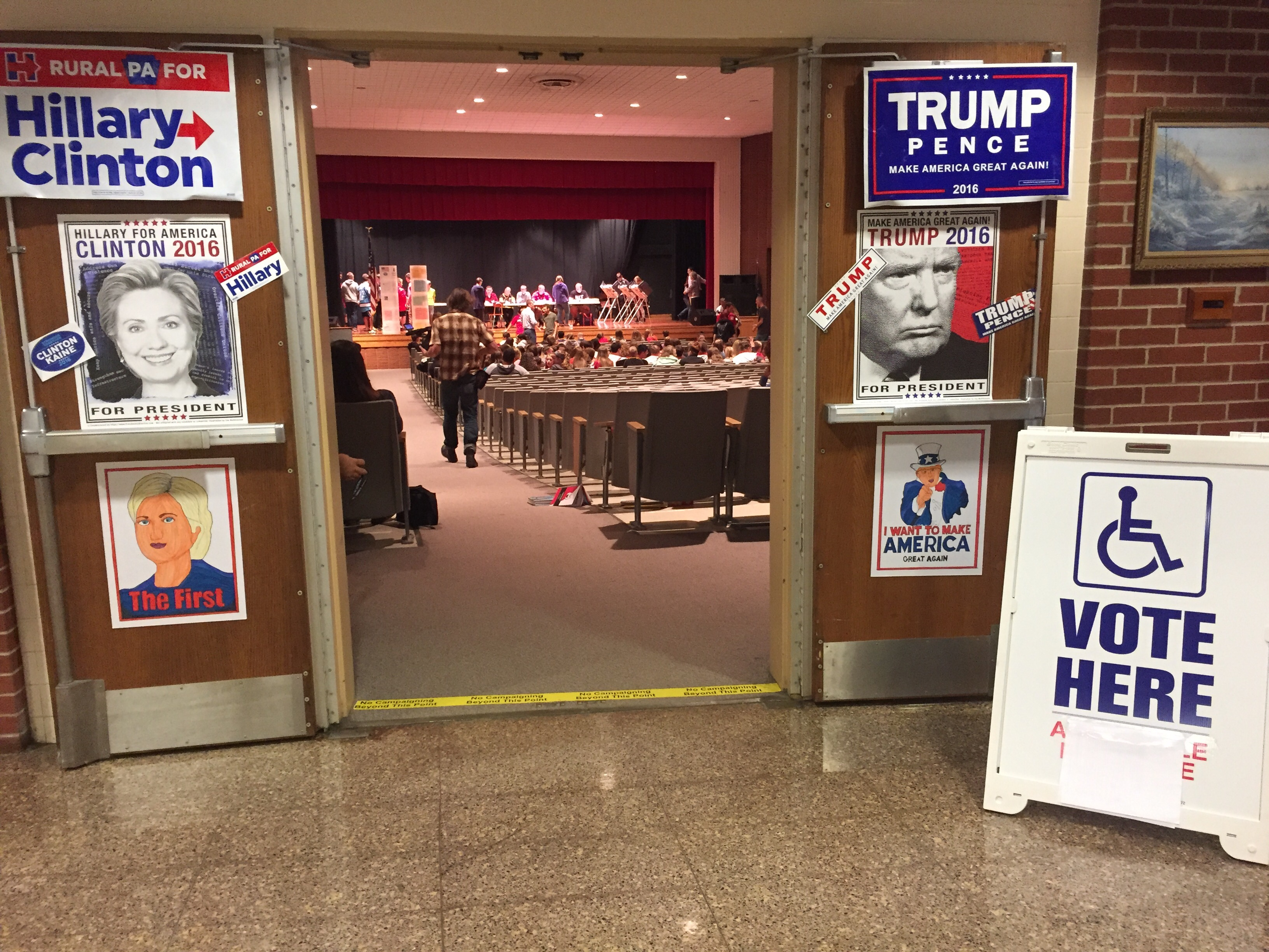 Political posters line the outside of Redbank Valley High School's auditorium.
