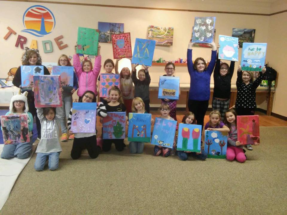 Girl Scout Troop painting class