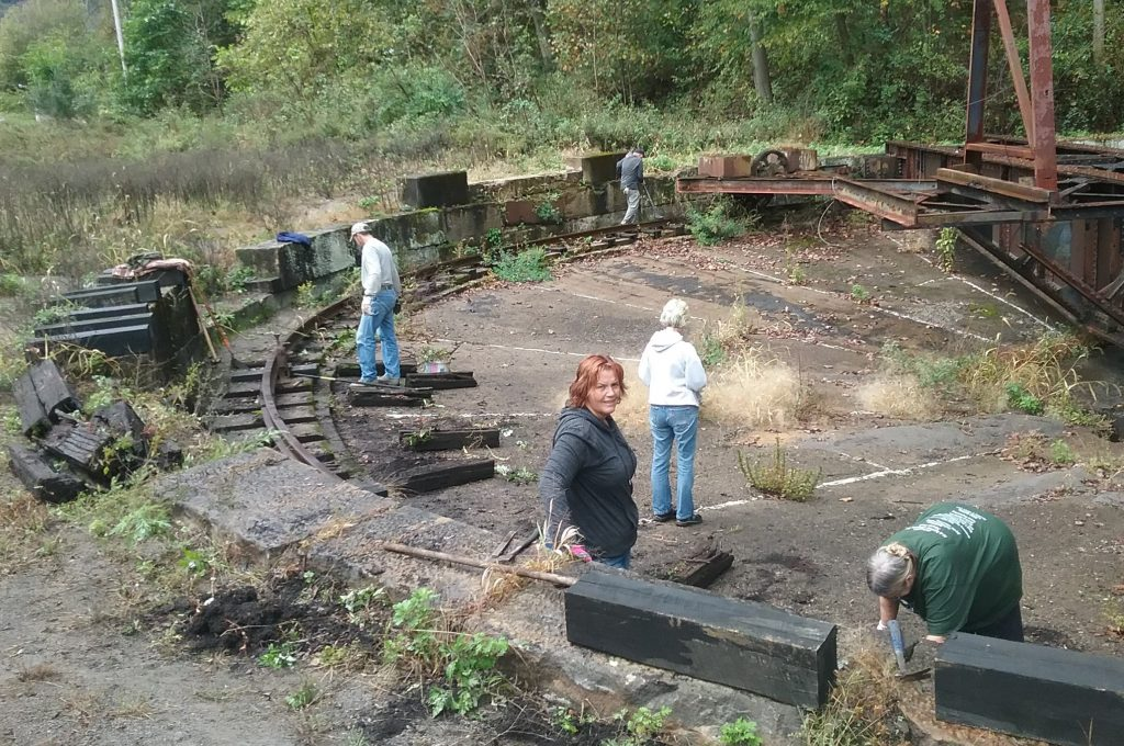 Volunteer groups, such as the Armstrong Rails to Trails Association, have pitched in to clean up the Philipston Turntable, a railyard relic near the Brady Tunnel's southern portal. Photo courtesy of the Armstrong Rails to Trails Association.