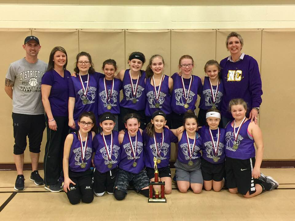 North Clarion Elementary took home first place in the Cranberry Basketball Tournament held over the weekend. Front Row Left to Right: Jadyn Reisinger, Sydney Baumcratz, Ainsley Hartle, Bella Niederitter, Ava Bilunka, Kinsley Freeman, and Ava Hanhold. Back Row Left to Right: Coach Ed Baumcratz, Coach Misty Hartle, Allison Ochs, Abby Hastings, Addison Siegel, Kyler Freeman, Emalie Best, Abby Best, and Coach Bobbie Freeman. Photo courtesy Misty Hartle.