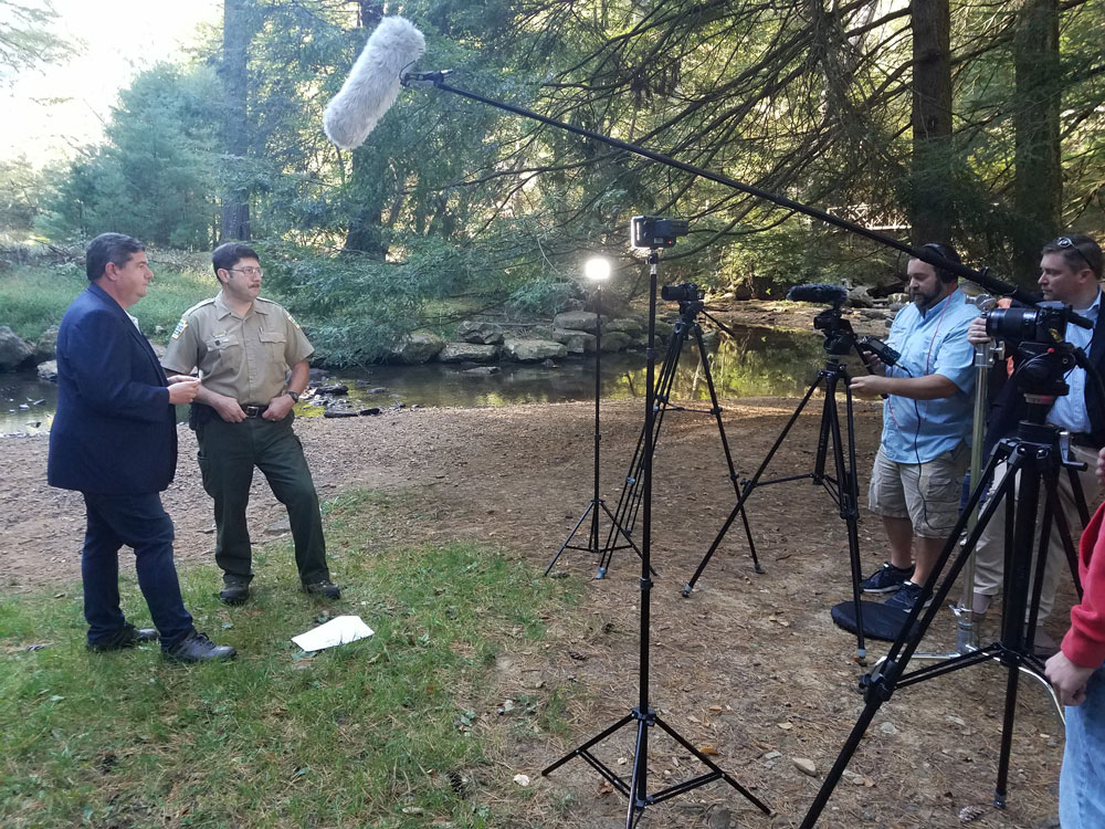 Erik Hastings interviewing Dale Luthringer, the Environmental Education Specialist for Cook Forest State Park.
