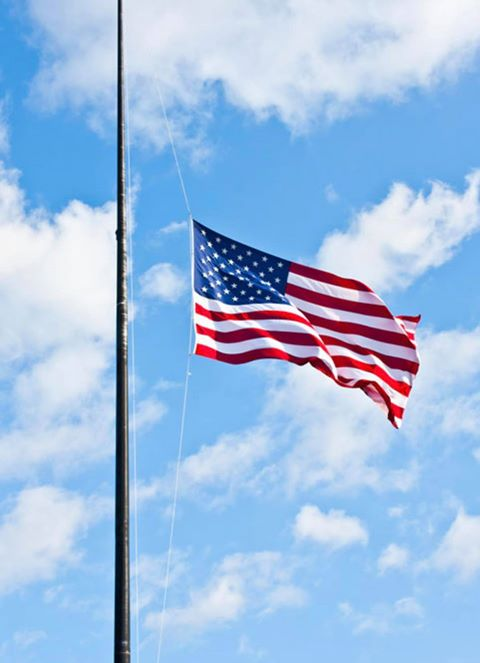 Barbara Myers lowered her flag to half mass in remembrance of Fred McIlhattan last week. Submitted by Barbara Myers.