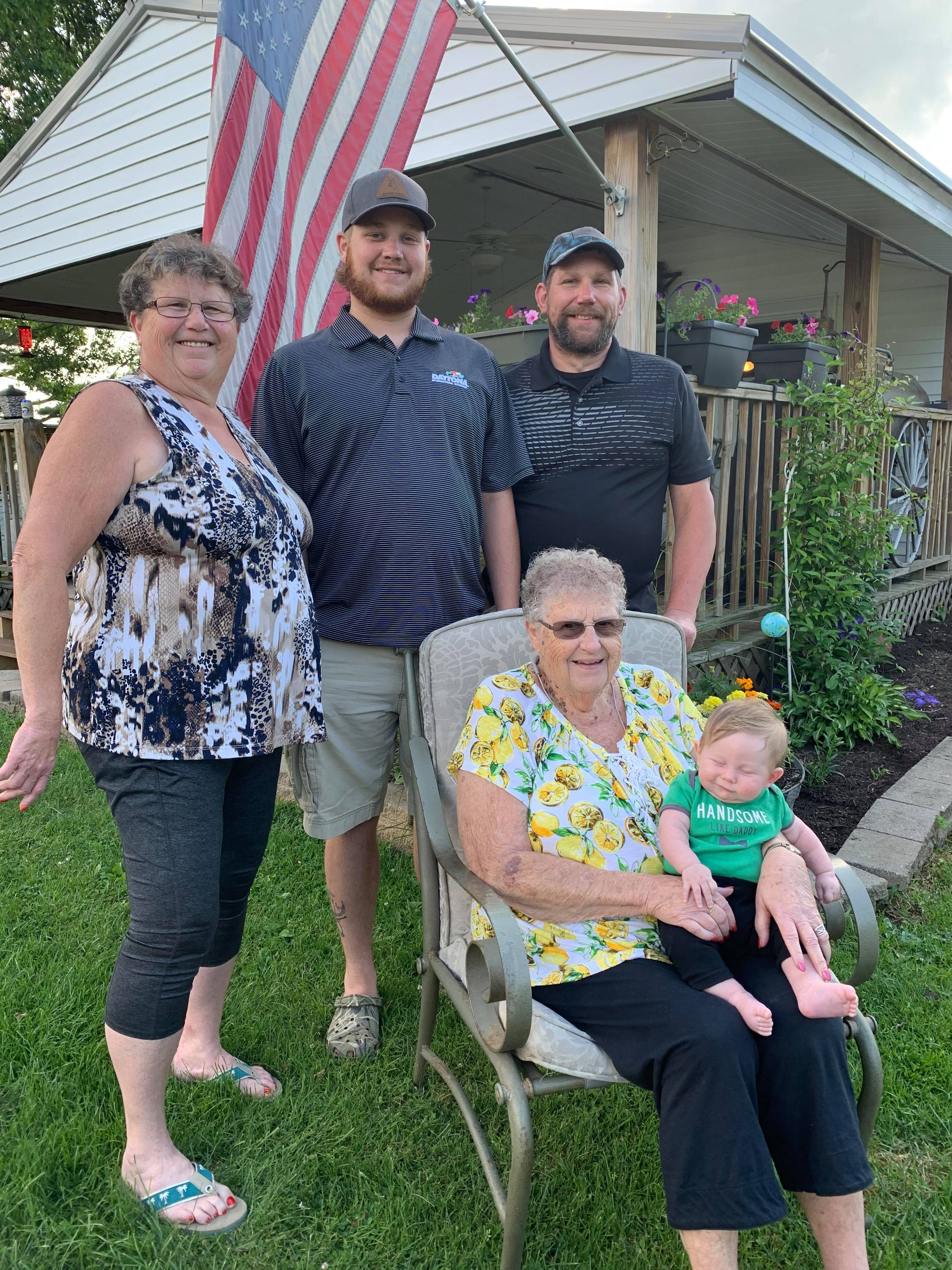 A celebration of 5 generations! Flo Best, Shippenville, is holding her great-great grandson Wesley, son of Will Cotherman, Hawthorne; Grandson of Mike Cotherman of Shippenville and Great-Grandson of Kathy Glosser of Shippenville. Wesley was born in March and Flo just returned from wintering in FL.