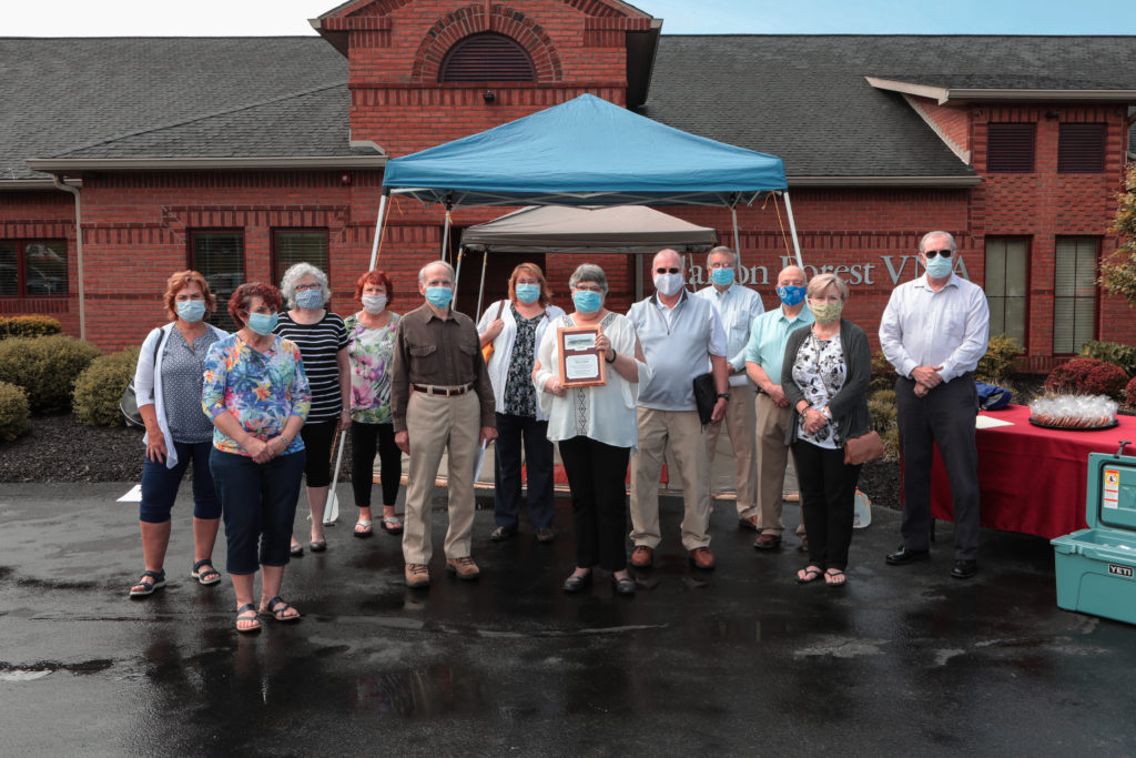 Clarion Forest VNA staff honors CEO Jill Over on Thursday, June 3, after 40 years of service to the community.