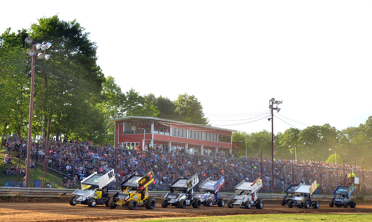 Sprint cars set to take the first green flag of 2020 in front of a packed house at Tri-City (Rick Rarer photo)
