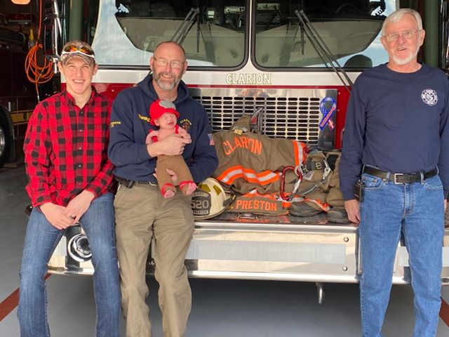 4 generations of firemen: Ed Preston, Doug Preston, Travis Preston, and Kaleb Preston. Submitted by Ashlee Preston.