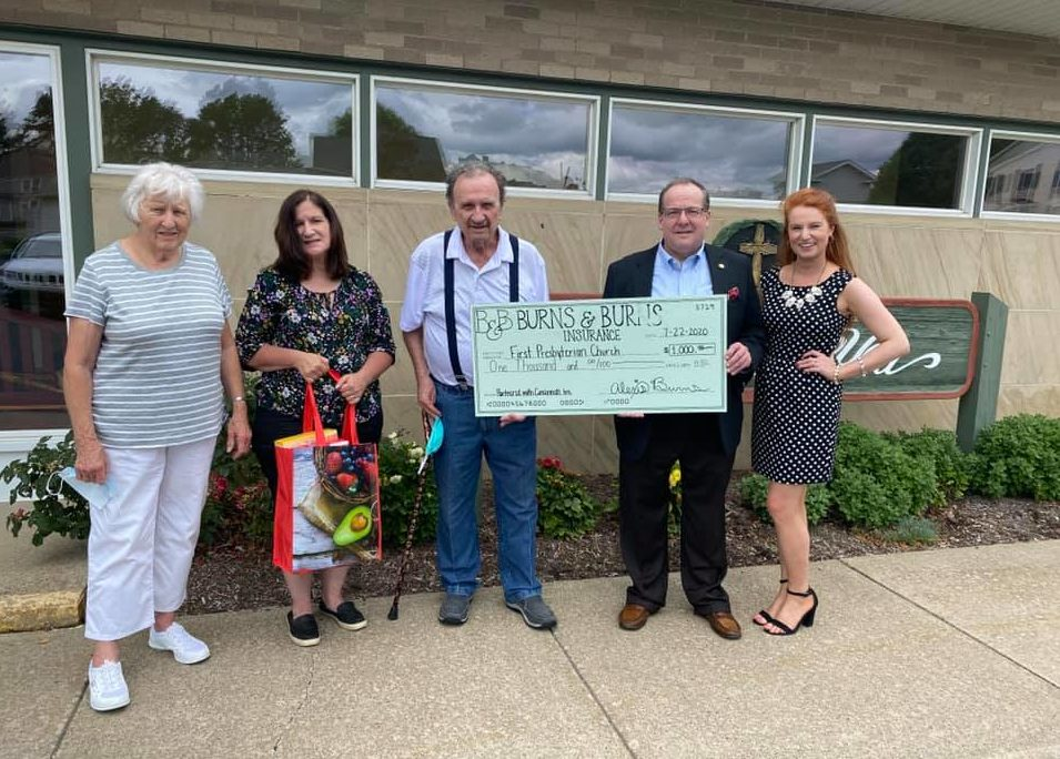 On July 22, 2020, Burns & Burns Insurance presented a $1,000 check to the First Presbyterian Church of Clarion to be donated to their foodbank programs.  Photo courtesy Burns and Burns.