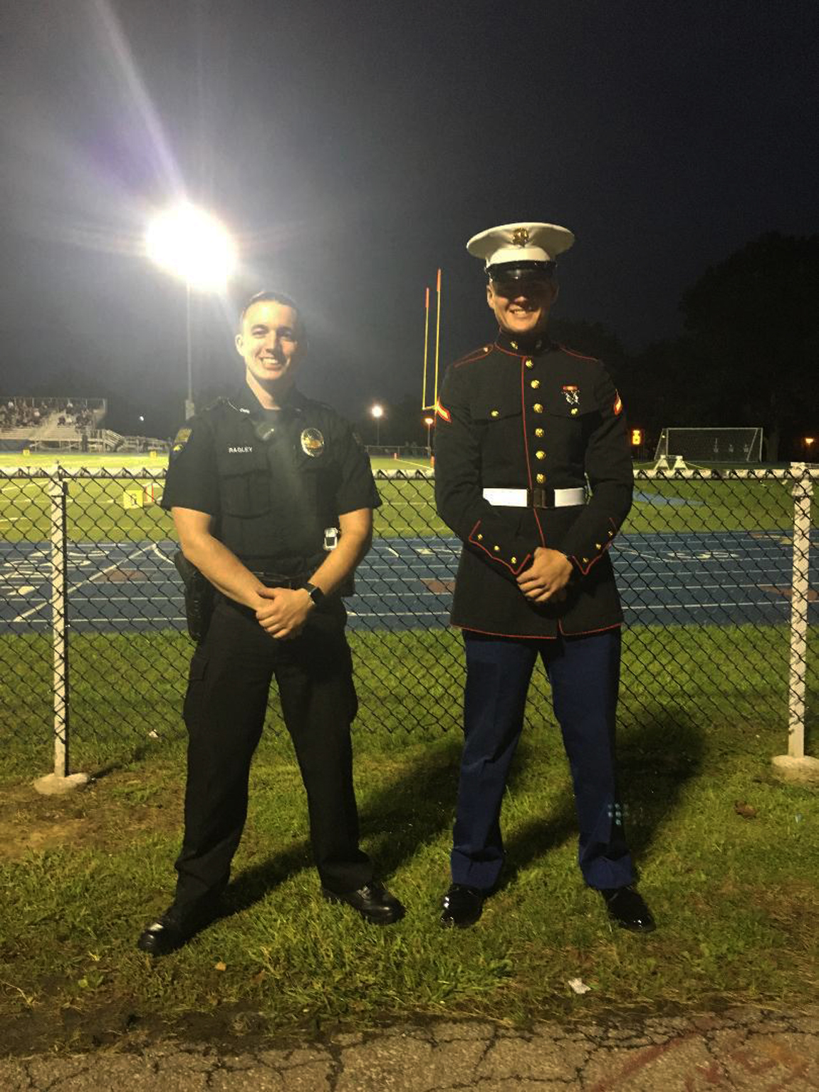 Corbin on duty for CUP Police Department and Thomas Wurster USMC. The Clarion Area Grads at a Bobcats football game.