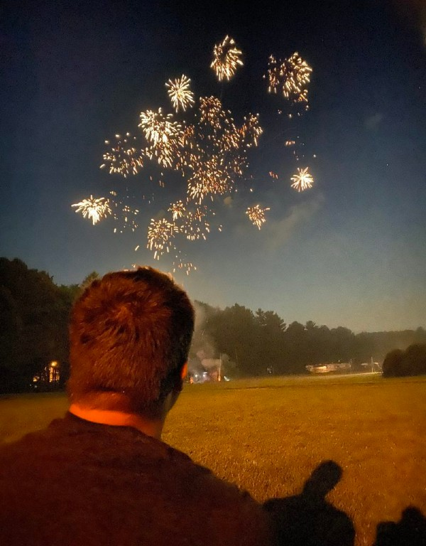 Marine Corps veteran, Nathan Schons enjoying an Independence Day celebration at Spirit of the North campground in Cook Forest.  Submitted by The Schons.