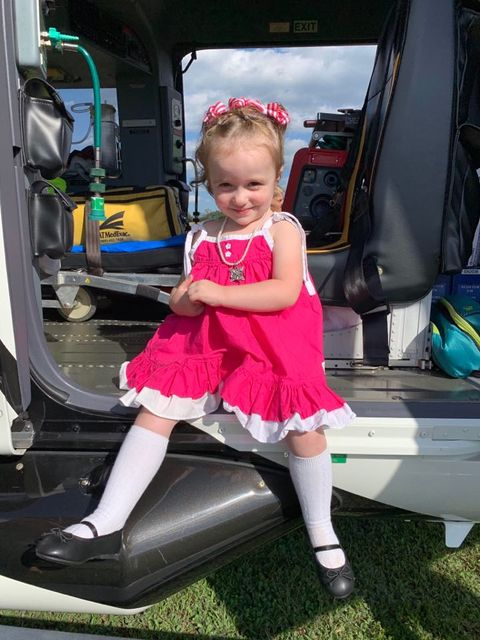 Nora Lasher age to sitting in the new stat medevac helicopter at the celebration of life for Danica Lander a couple weeks ago at Limestone firehall. Submitted by mom Holly Yeager.