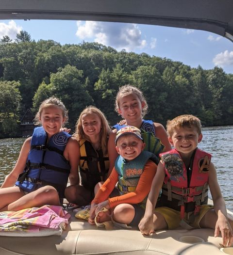 """""""Sun and fun! Labor Day weekend on the Clarion River with Callie and Maggie Snodgrass, Grace and Brantley Reinsel and Jackson Cosby."""" Submitted by Richelle Reinsel."""