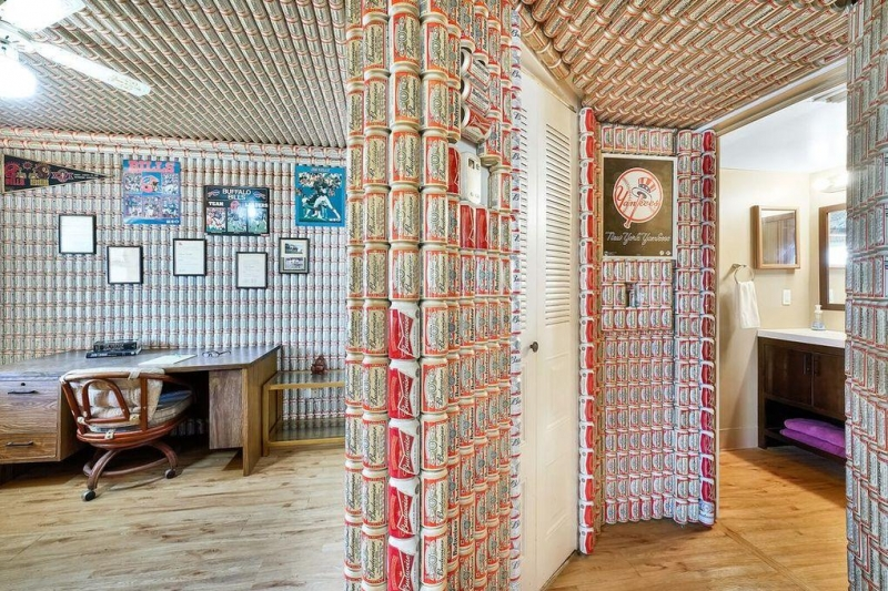 Florida-condo-for-sale-has-Budweiser-cans-covering-walls-ceilings